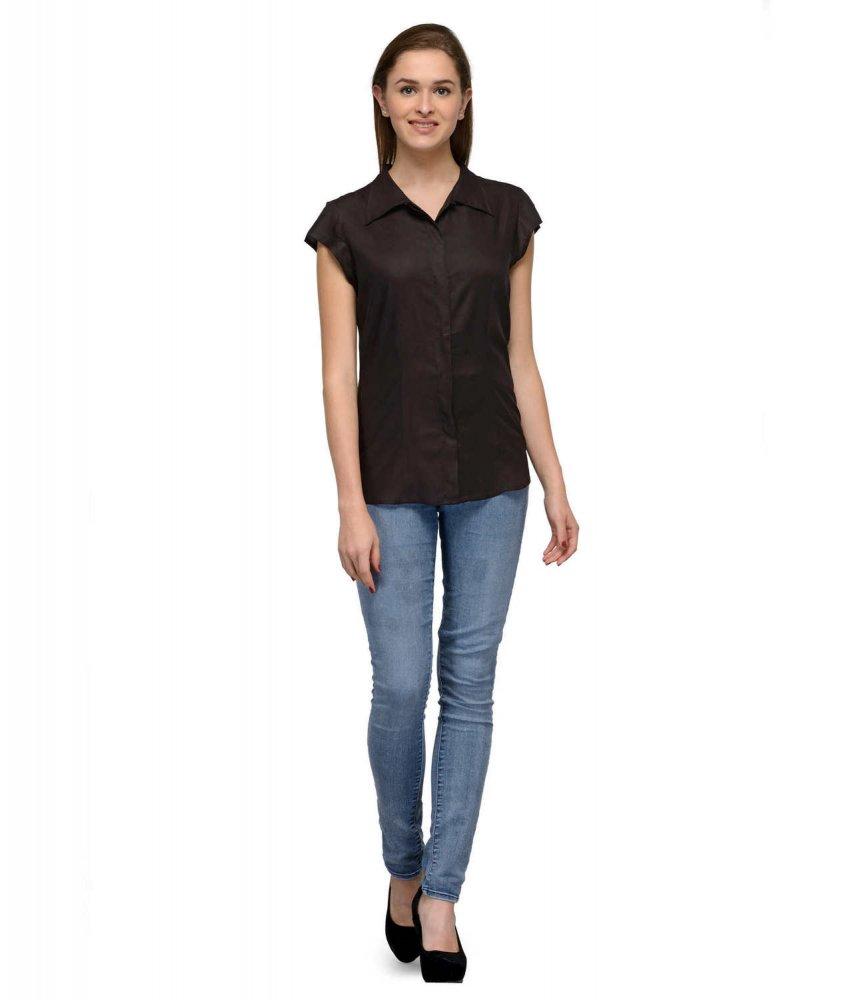 Cap Sleeve Classic Shirt in Black