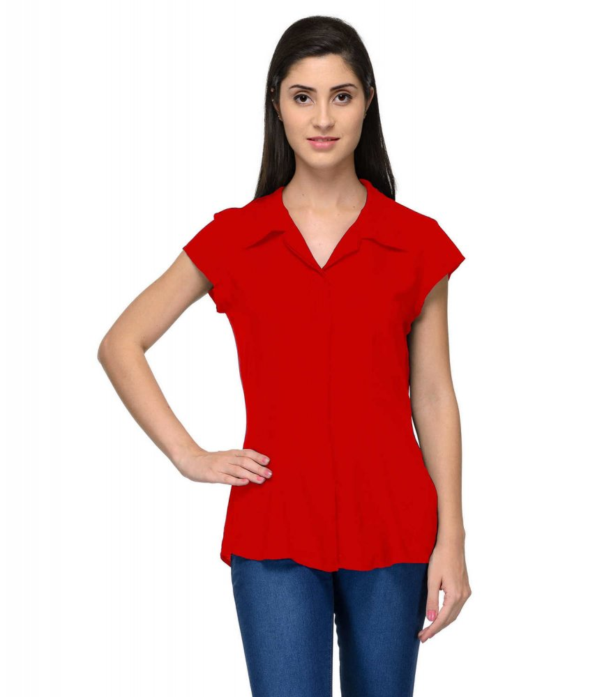 Cap Sleeve Classic Shirt in Red
