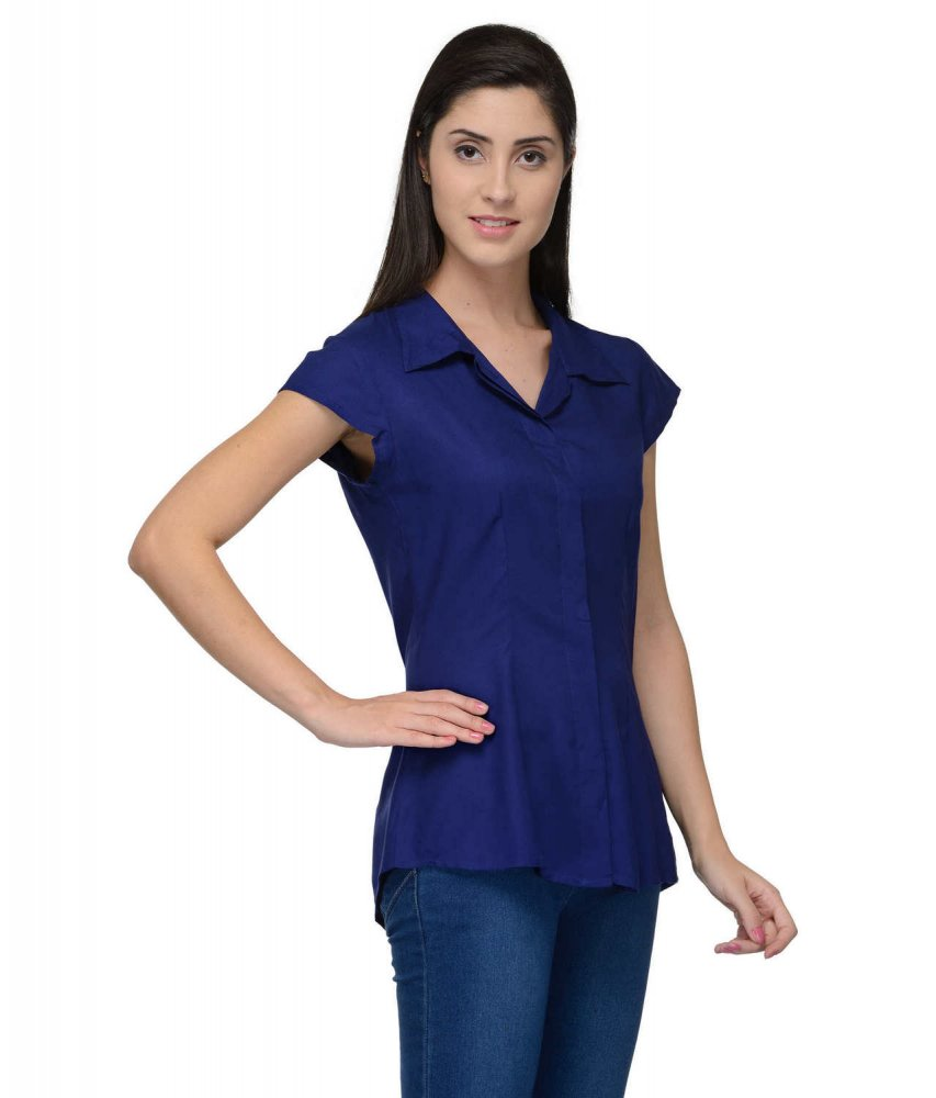 Cap Sleeve Classic Shirt in Royal Blue
