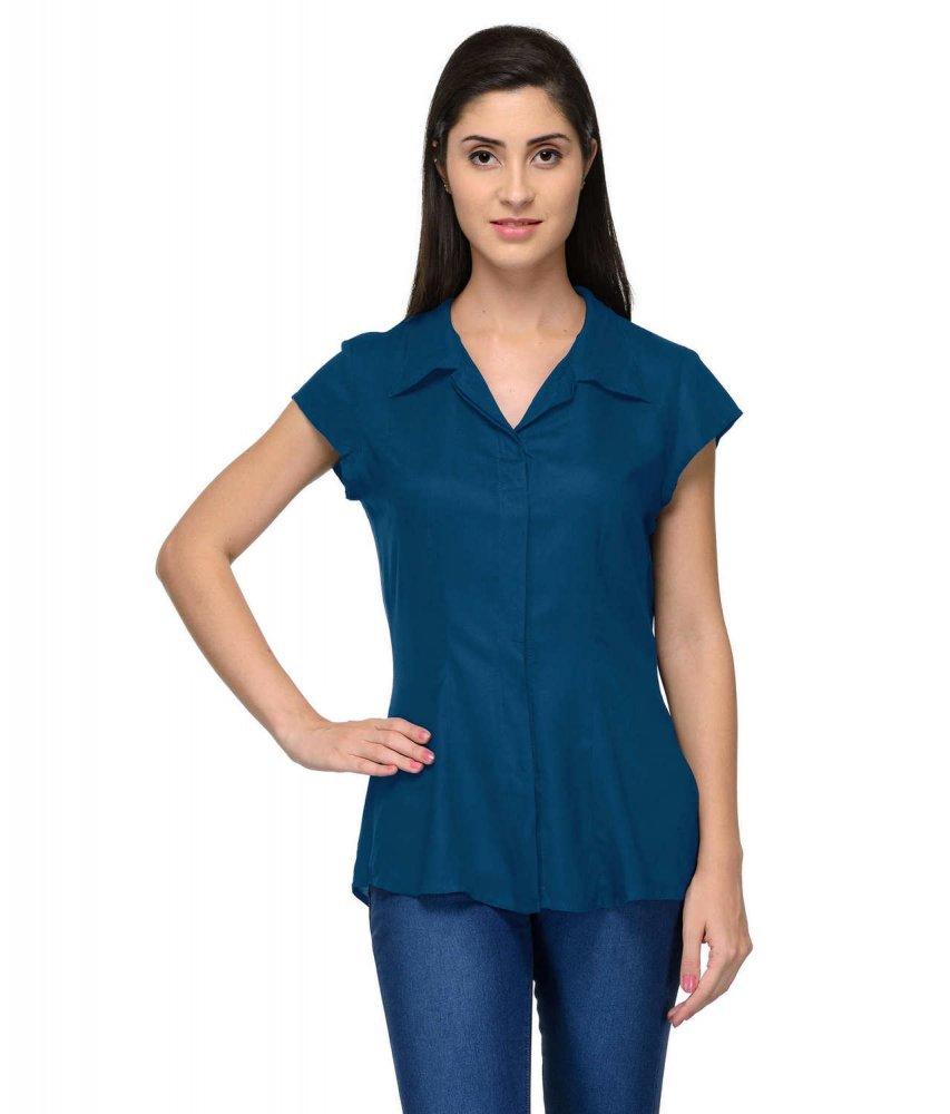 Cap Sleeve Classic Shirt in Sky Blue