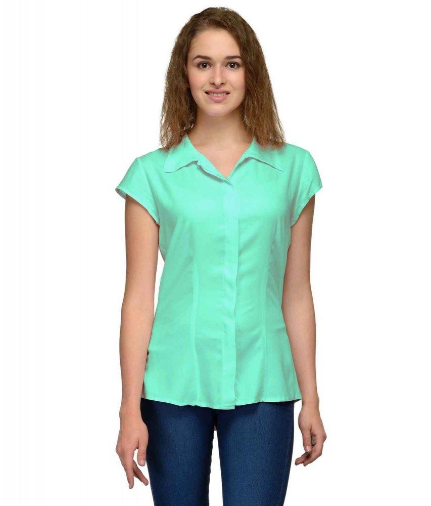 Cap Sleeve Classic Shirt in Teal Green