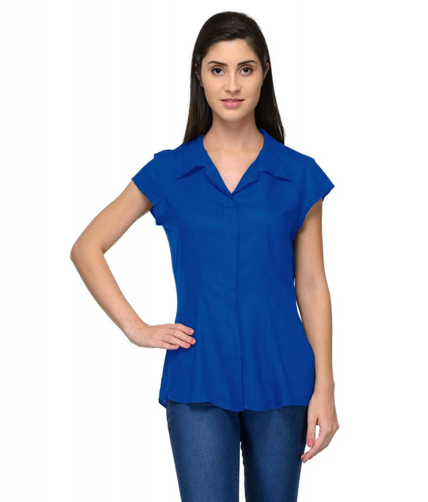 Cap Sleeve Classic Shirt in Turquoise Blue