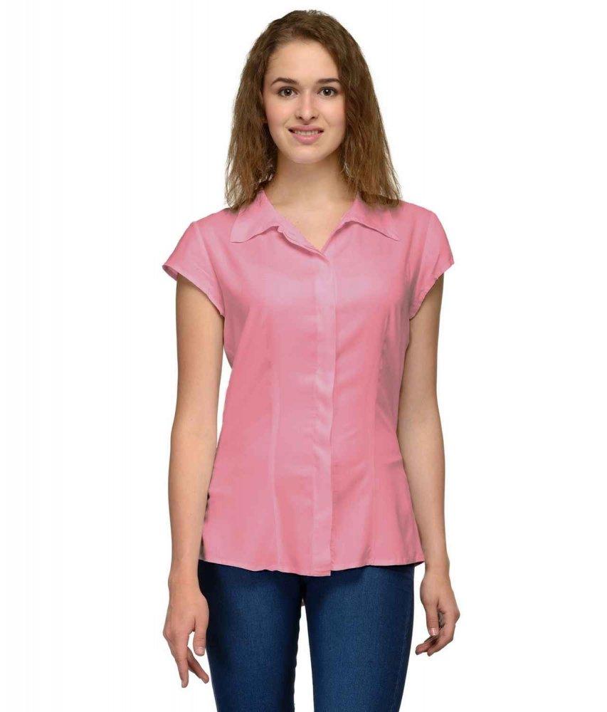 Cap Sleeve Classic Shirt in Vinyl Hot Pink