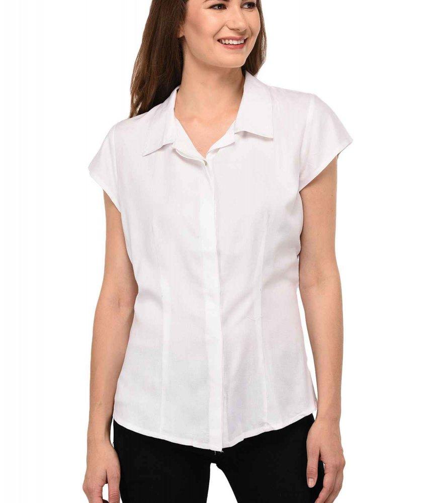 Cap Sleeve Classic Shirt in White
