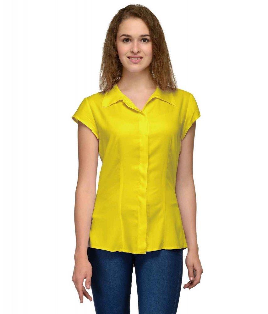 Cap Sleeve Classic Shirt in Yellow