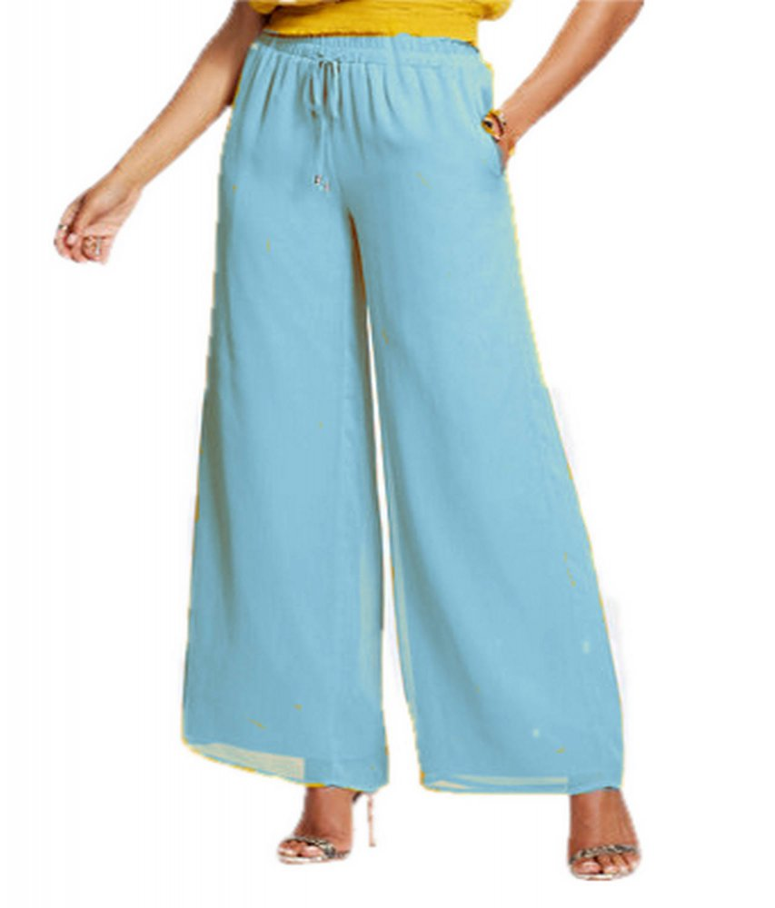 Casual Straight Fit Palazzo Pant in Light Blue
