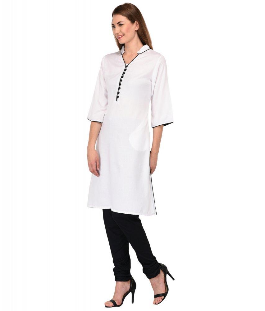 A-Line Kurta Kurti in White:Black