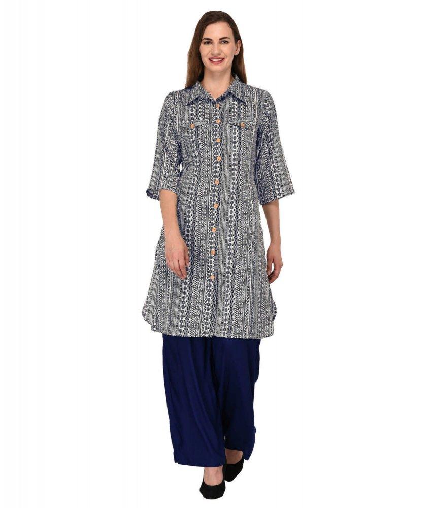 Pathani Kurta Style Long Shirt in Dark Blue Print