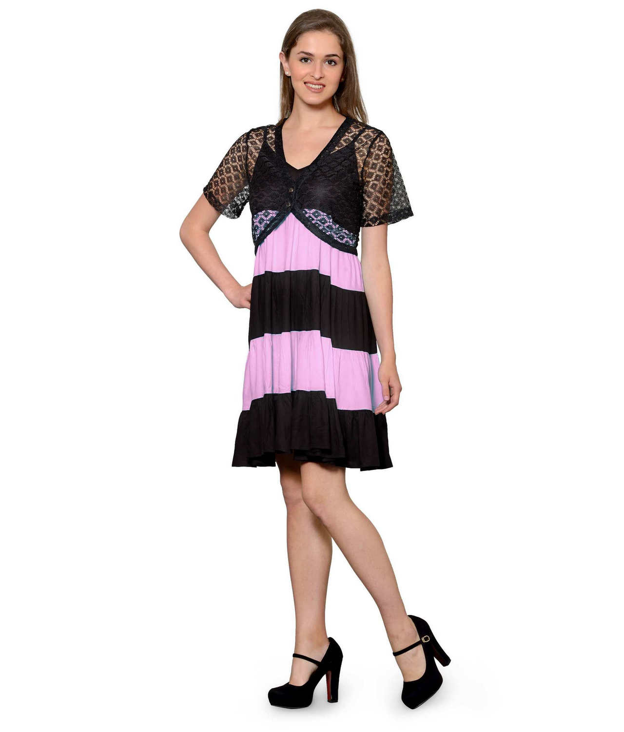 Cocktail Knee Length Dress with Shrug in Black:Baby Pink