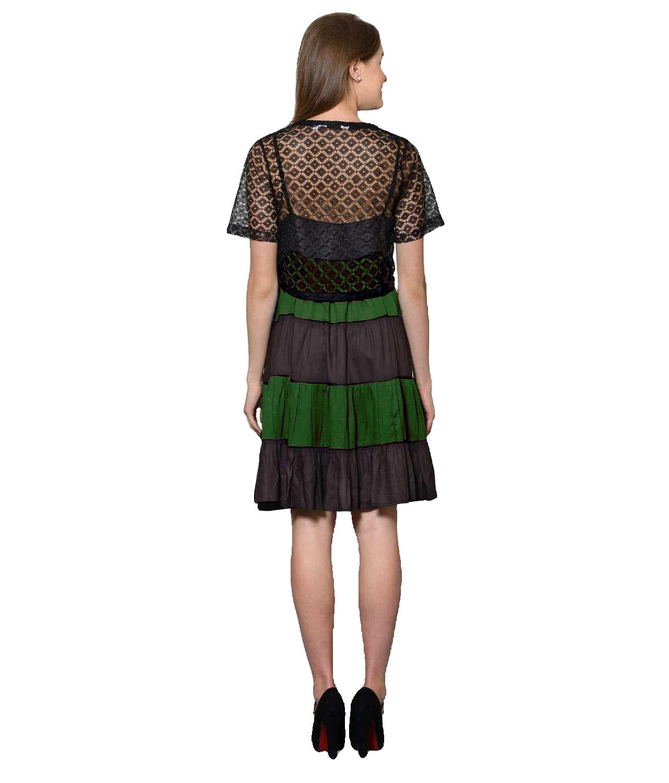 Cocktail Knee Length Dress with Shrug in Black:Bottle Green