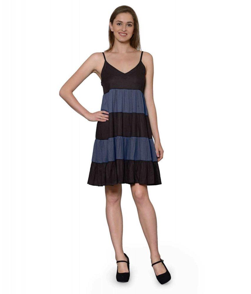 Cocktail Knee Length Dress with Shrug in Black:Dark Blue