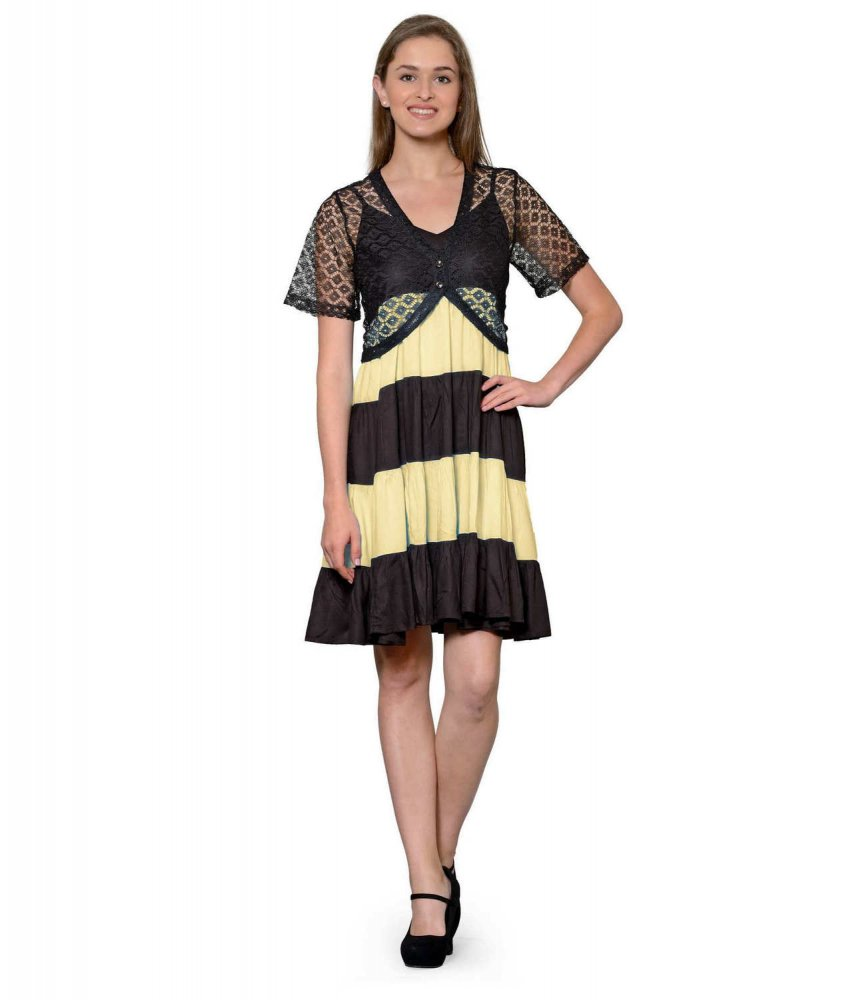 Cocktail Knee Length Dress with Shrug in Black:Gold