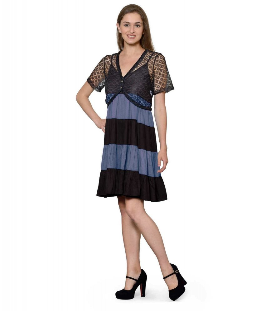 Cocktail Knee Length Dress with Shrug in Black:Grey