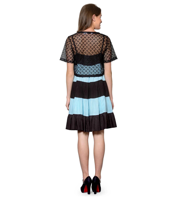 Cocktail Knee Length Dress with Shrug in Black:Light Blue