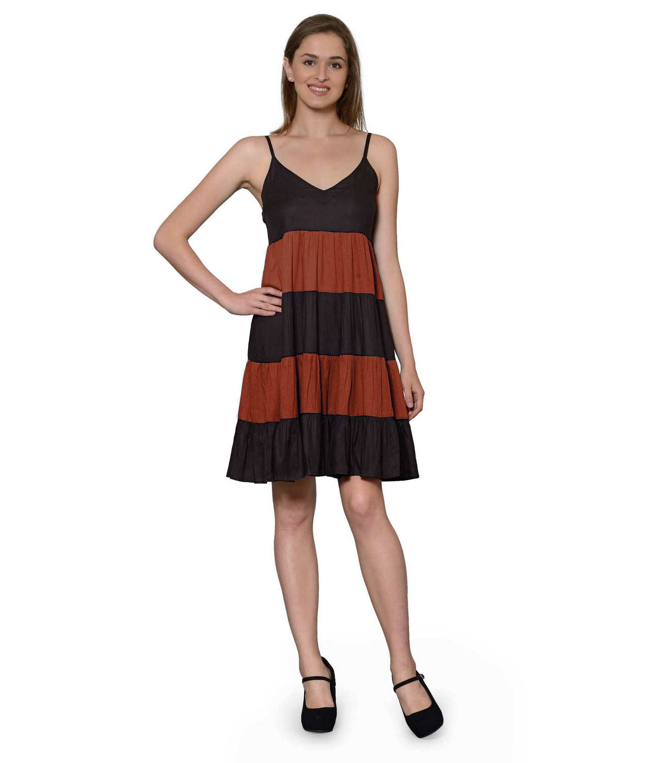 Cocktail Knee Length Dress with Shrug in Black:Maroon