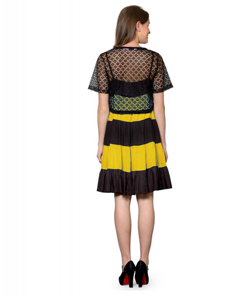Cocktail Knee Length Dress with Shrug in Black:Mustard