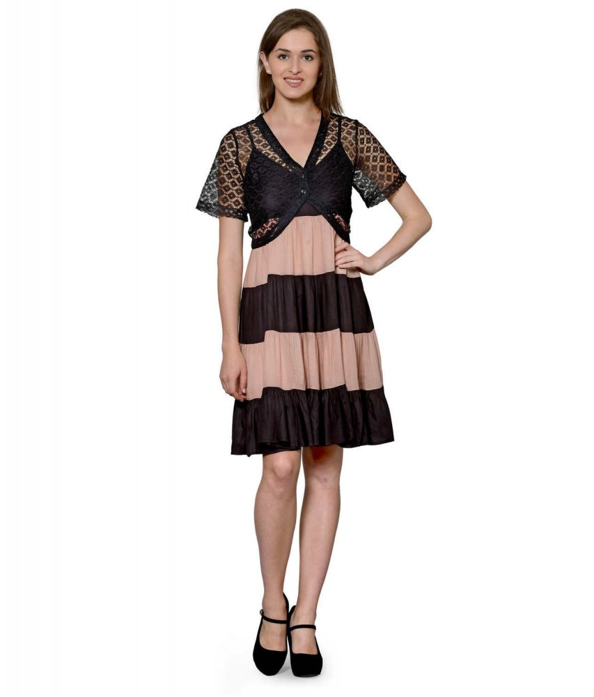 Cocktail Knee Length Dress with Shrug in Black:Peach