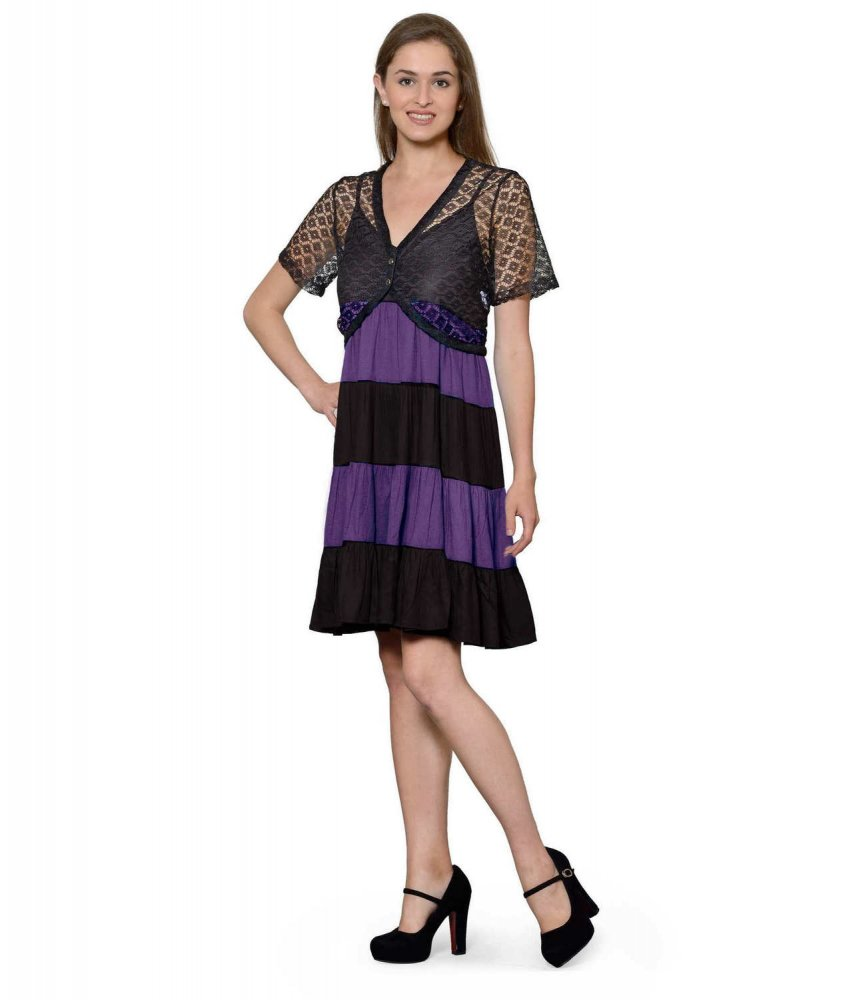 Cocktail Knee Length Dress with Shrug in Black:Purple