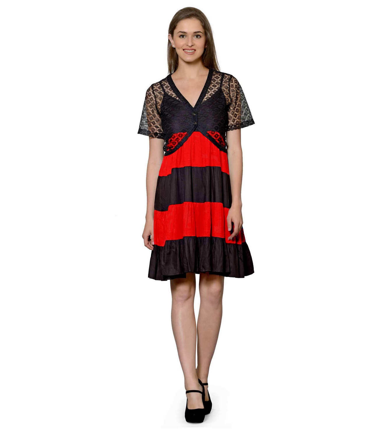 Cocktail Knee Length Dress with Shrug in Black:Red
