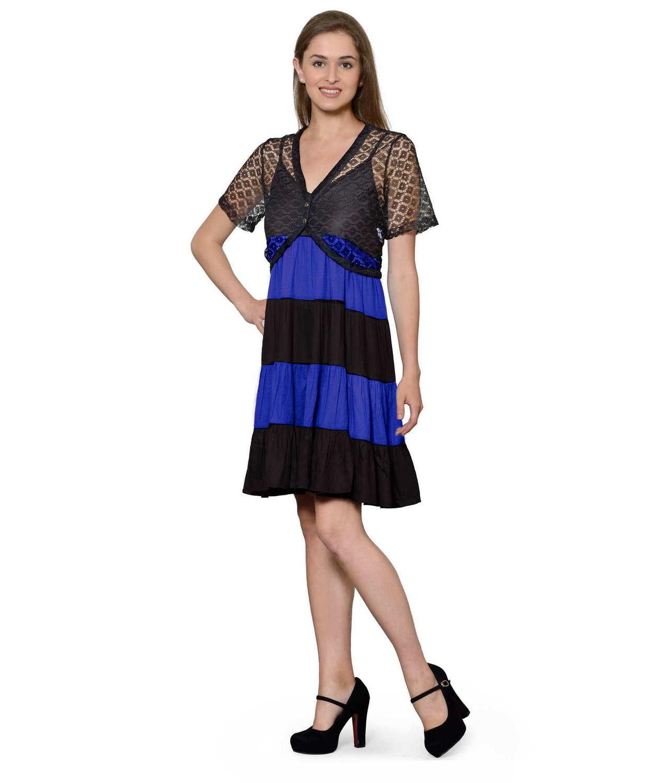 Cocktail Knee Length Dress with Shrug in Black:Royal Blue
