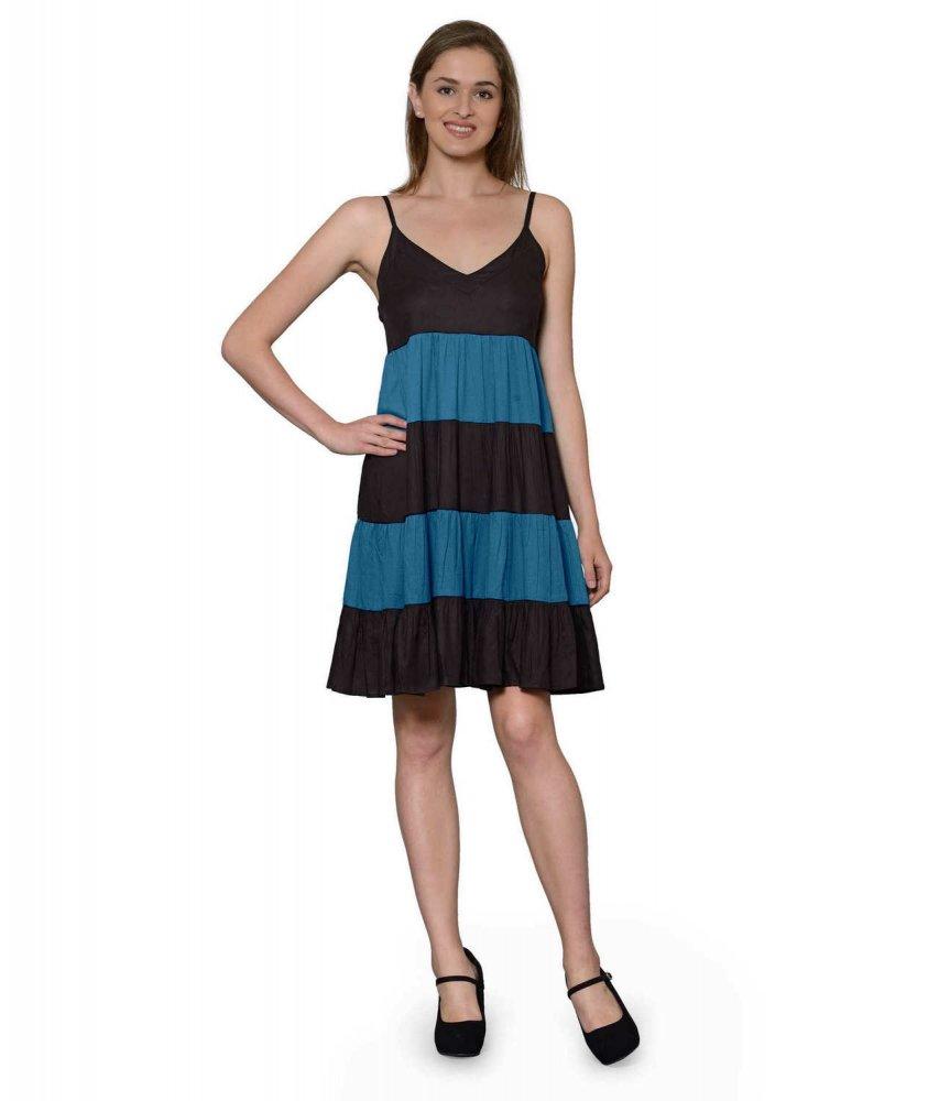 Cocktail Knee Length Dress with Shrug in Black:Sky Blue