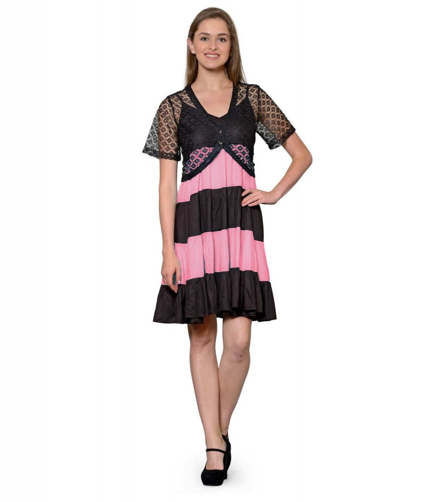 Cocktail Knee Length Dress with Shrug in Black:Vinyl Hot Pink