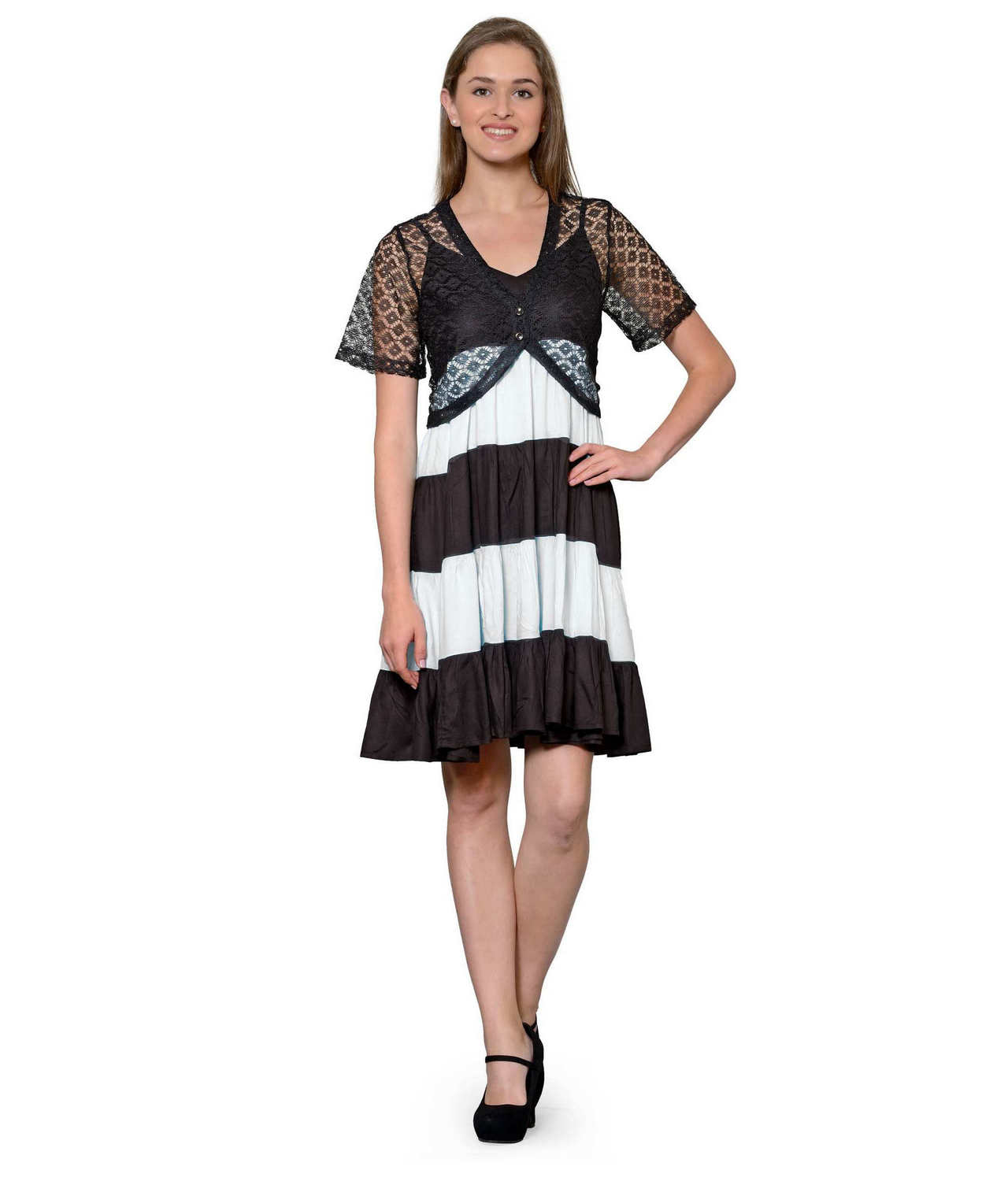 Cocktail Knee Length Dress with Shrug in Black:White
