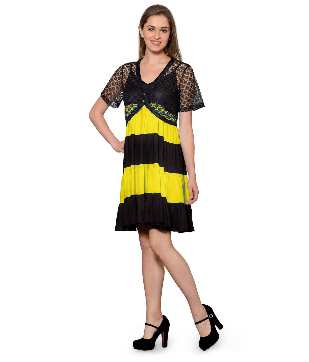 Cocktail Knee Length Dress with Shrug in Black:Yellow