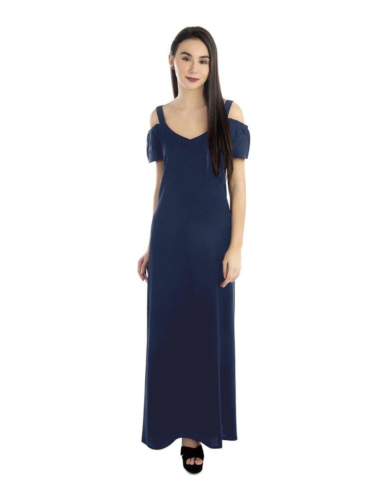 Cold Shoulder A-Line Dress in Charcoal Grey