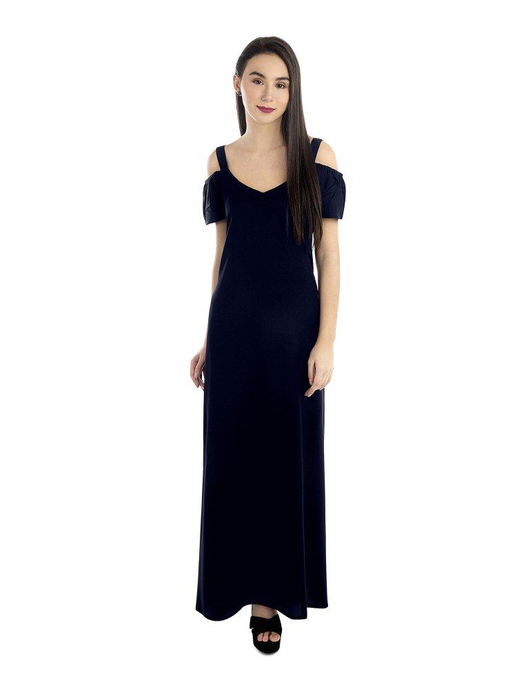 Cold Shoulder A-Line Dress in Dark Blue