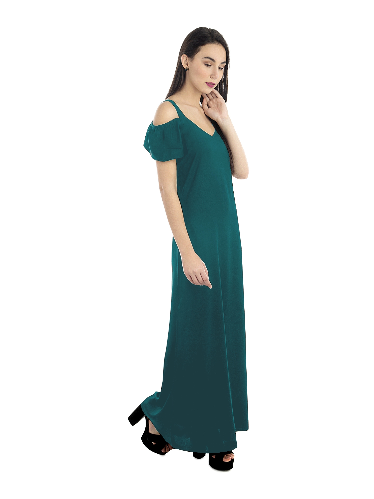 Cold Shoulder A-Line Dress in Rama Green
