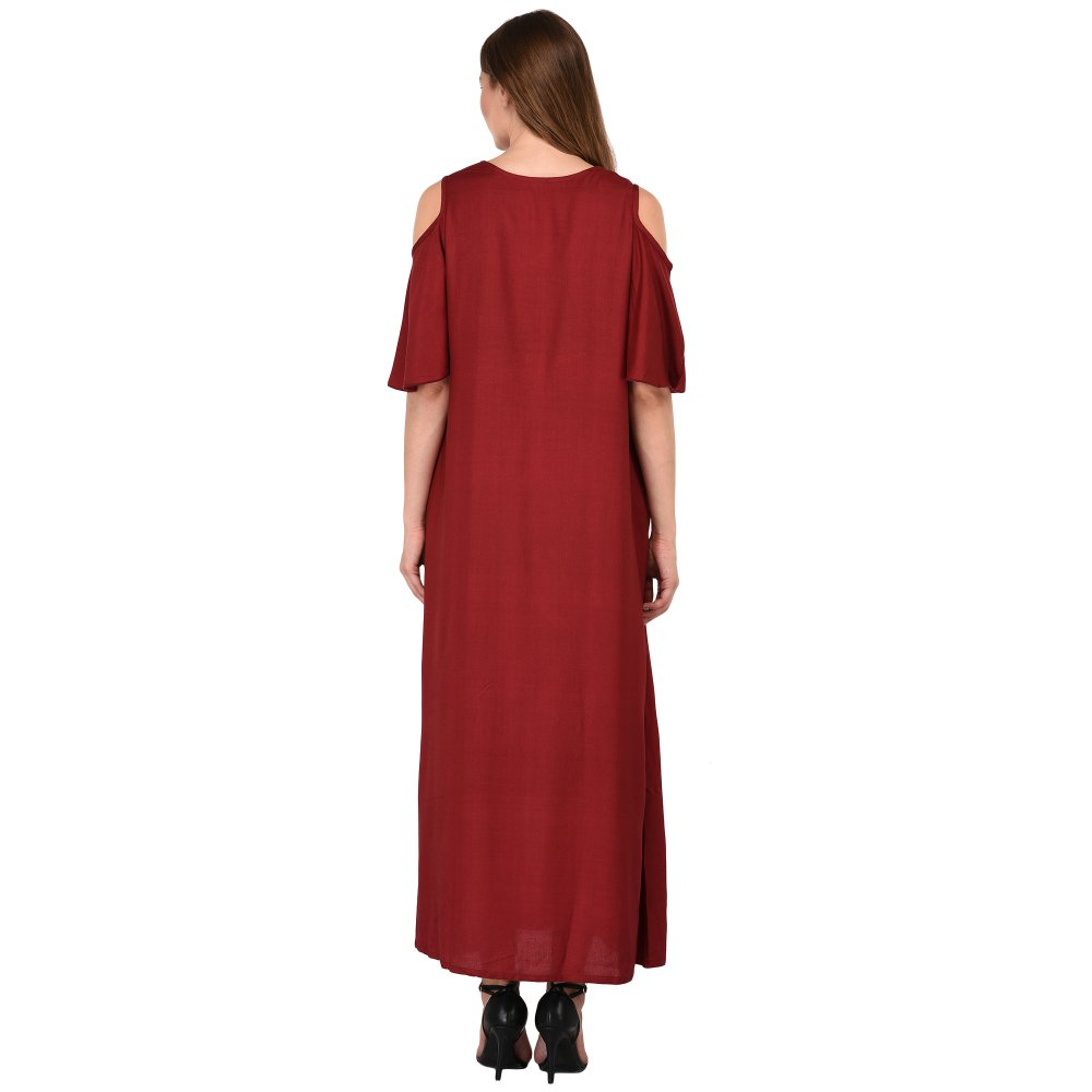 Cold-Shoulder Maxi Nighty Dress in Maroon