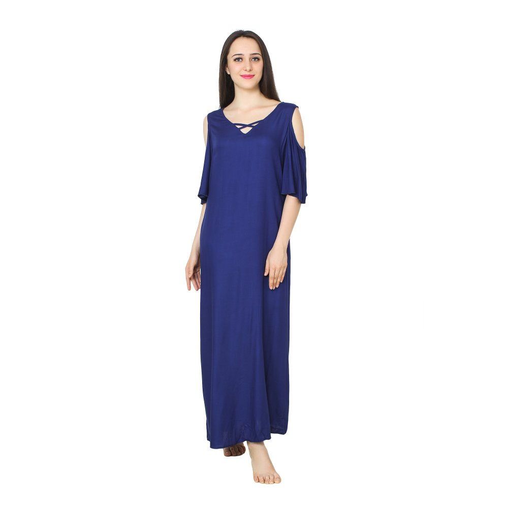 Cold-Shoulder Maxi Nighty Dress in Royal Blue