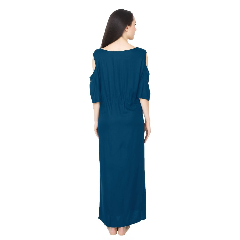 Cold-Shoulder Maxi Nighty Dress in Sky Blue