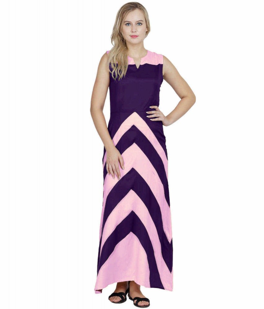 Color Block Empire Slim Fit Maxi Dress in Baby Pink:Purple