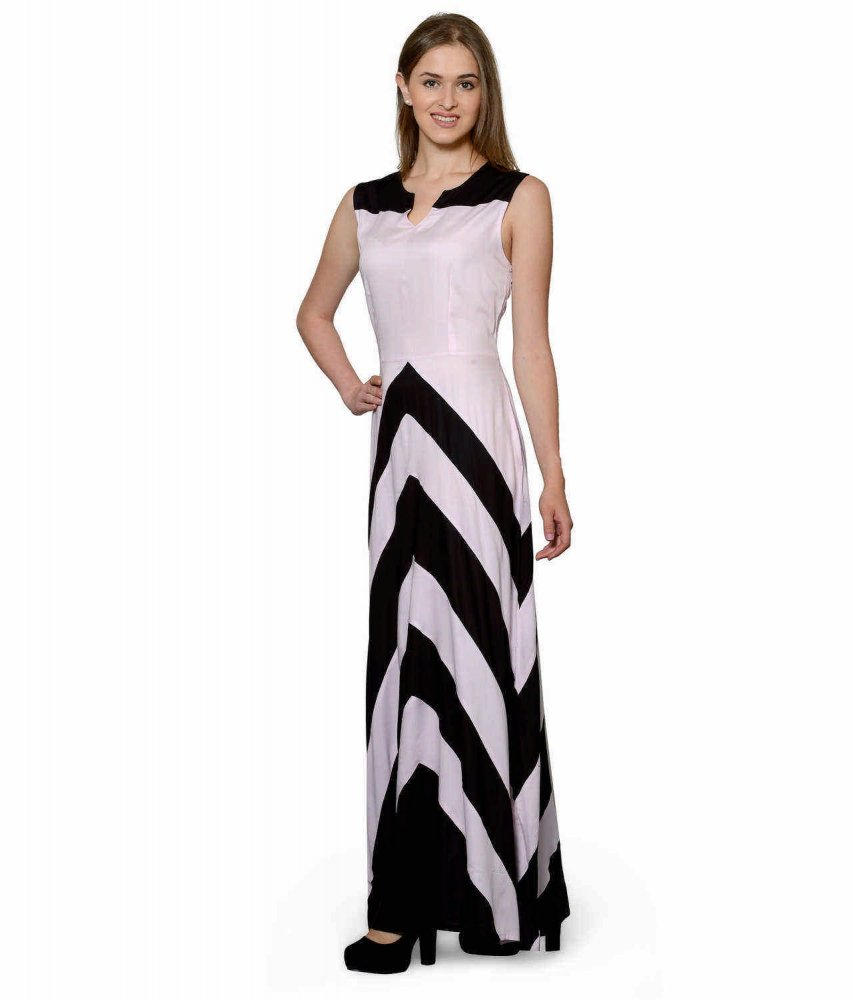 Color Block Empire Slim Fit Maxi Dress in Black:Baby Pink