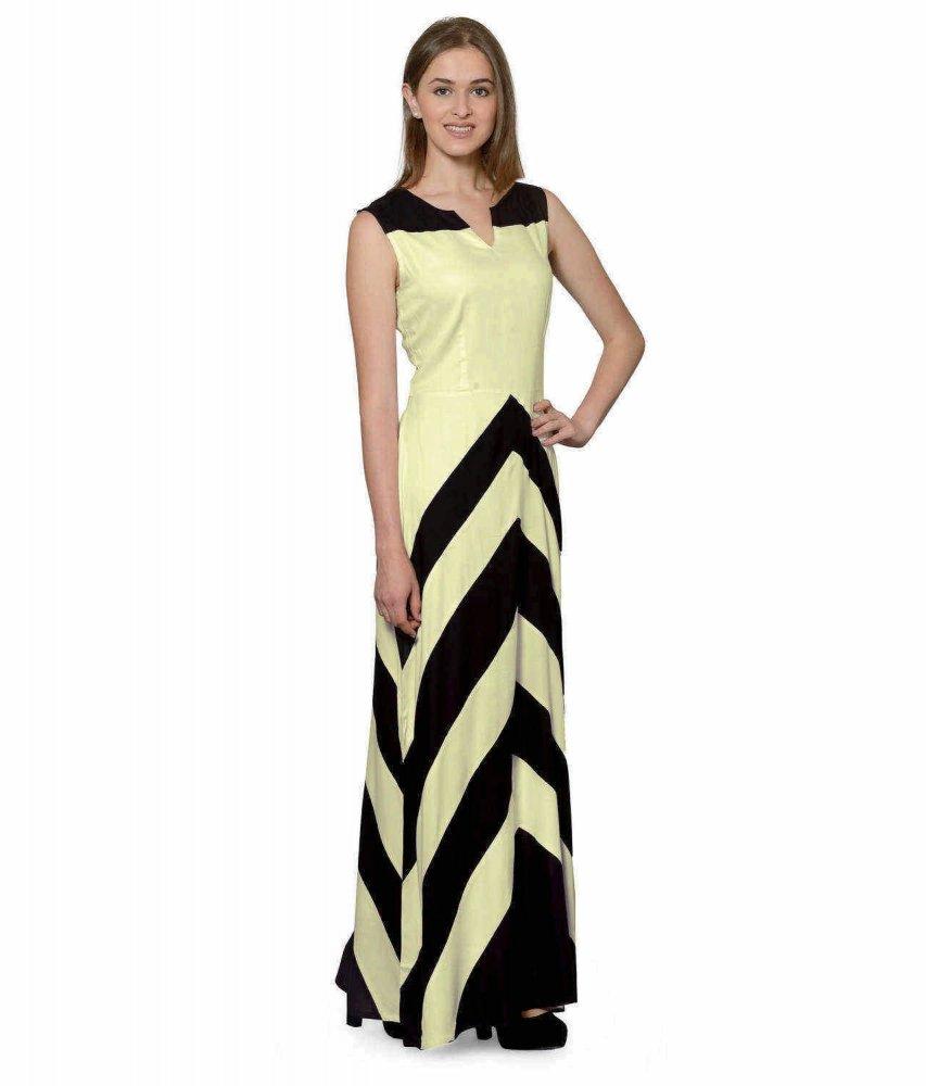 Color Block Empire Slim Fit Maxi Dress in Black:Cream
