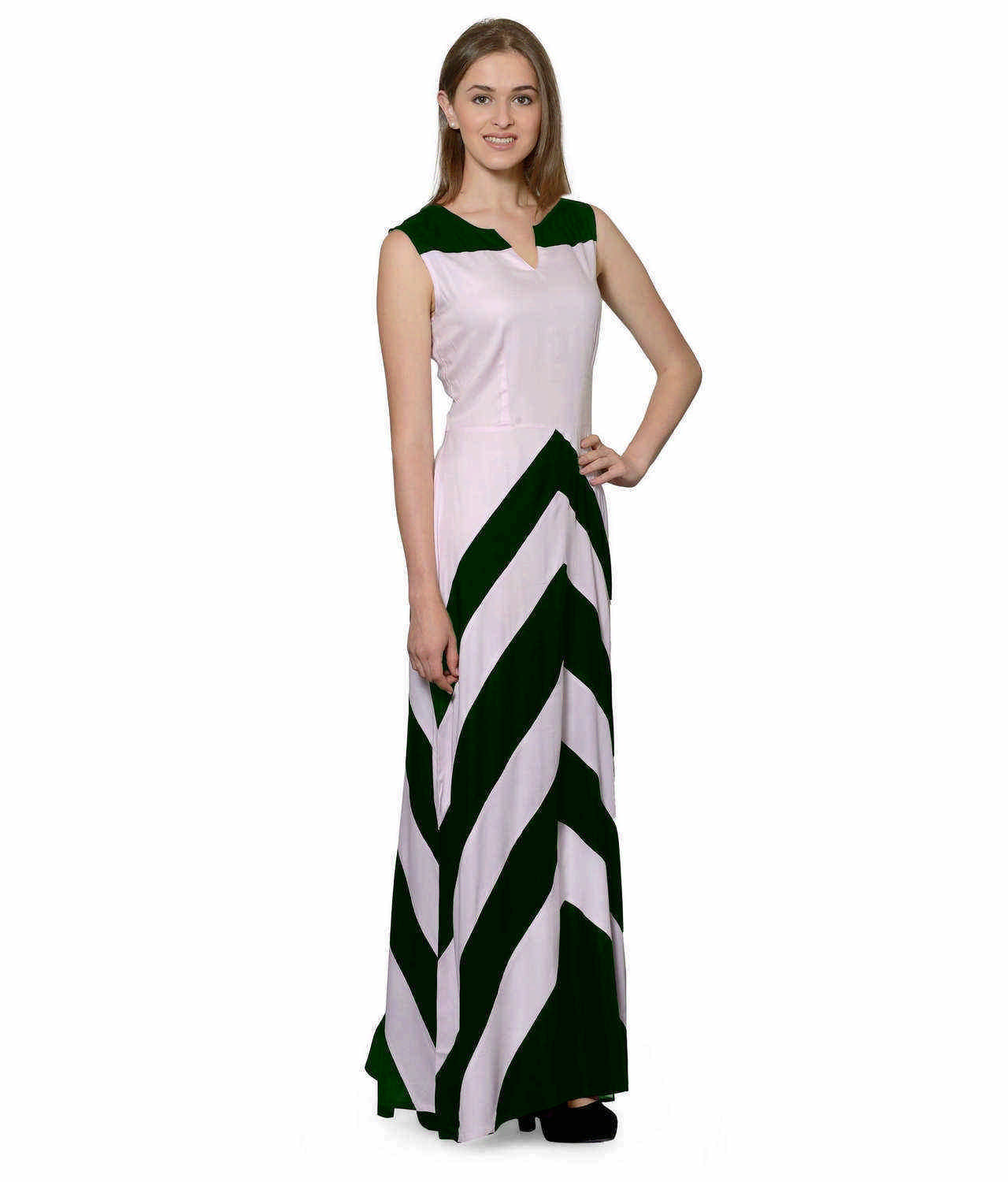Color Block Empire Slim Fit Maxi Dress in Bottle Green:Baby Pink