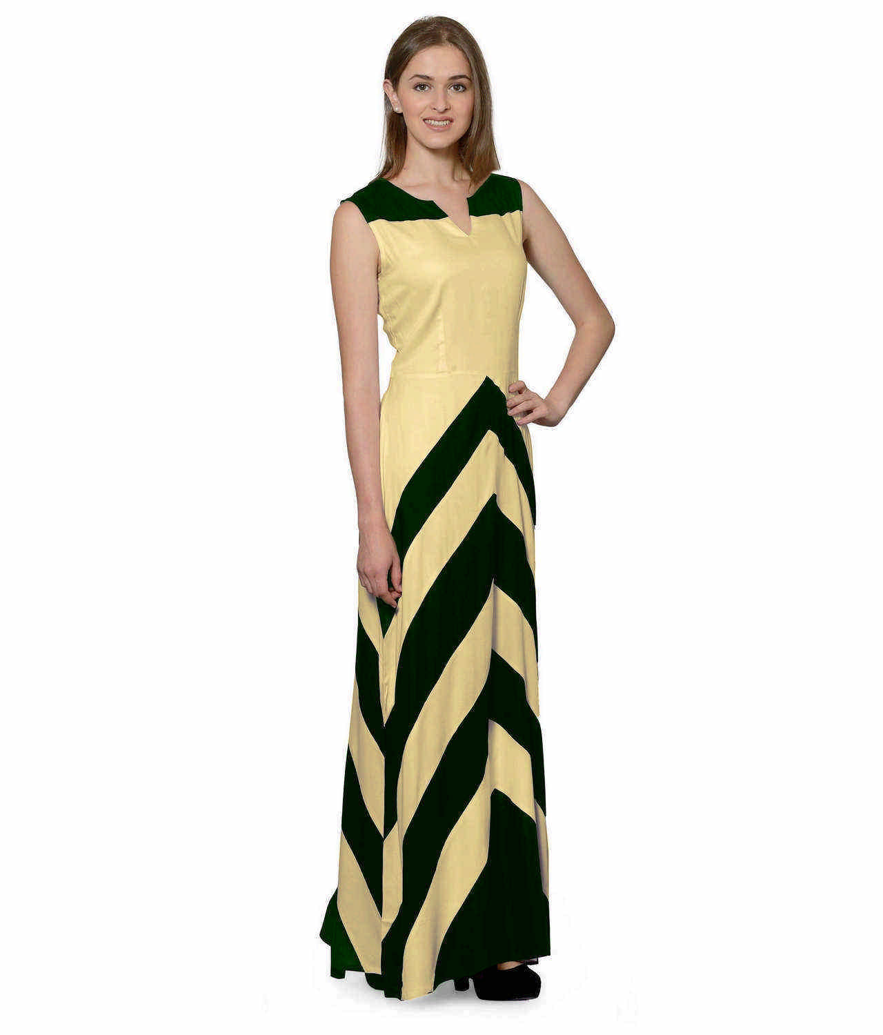 Color Block Empire Slim Fit Maxi Dress in Bottle Green:Gold