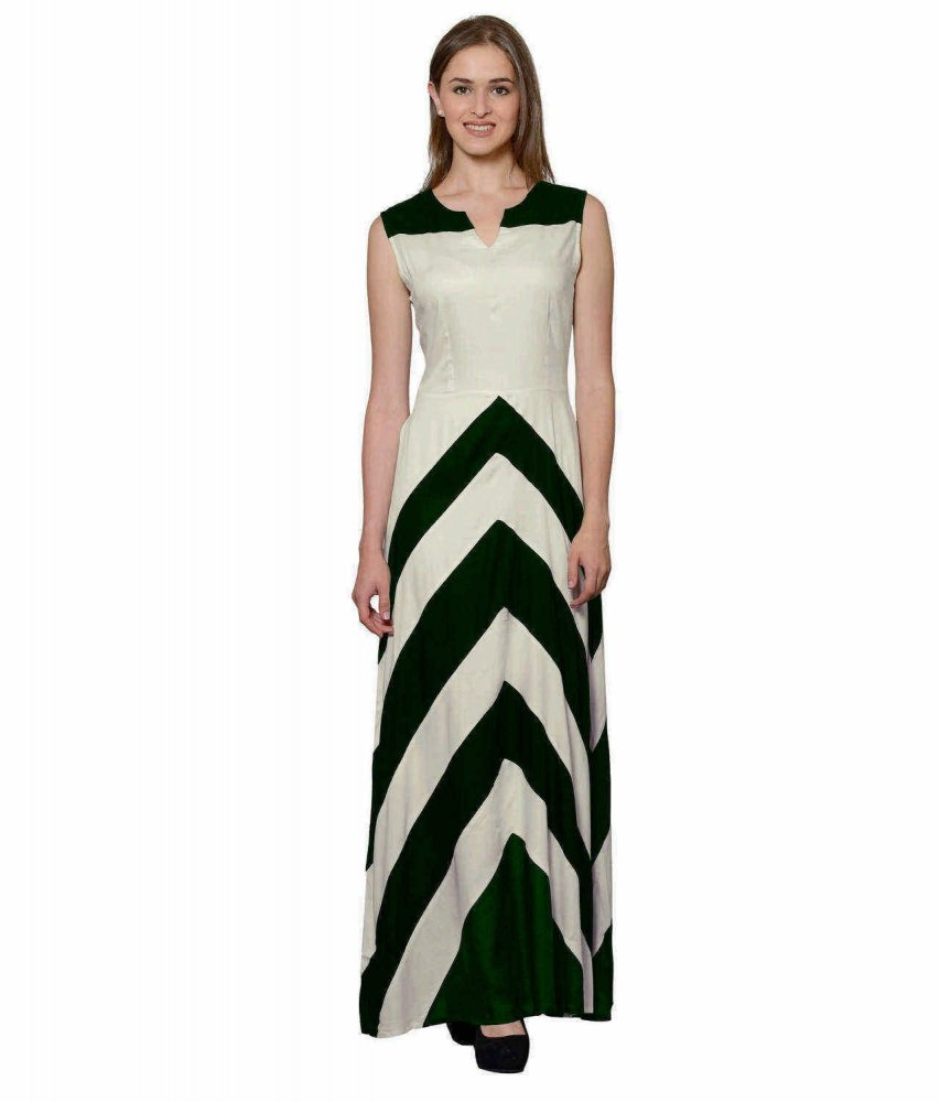 Color Block Empire Slim Fit Maxi Dress in Bottle Green:Off-White