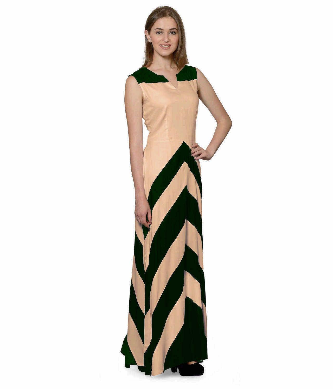Color Block Empire Slim Fit Maxi Dress in Bottle Green:Peach
