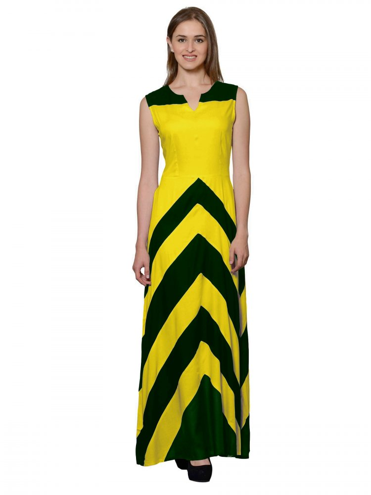 Color Block Empire Slim Fit Maxi Dress in Bottle Green:Yellow