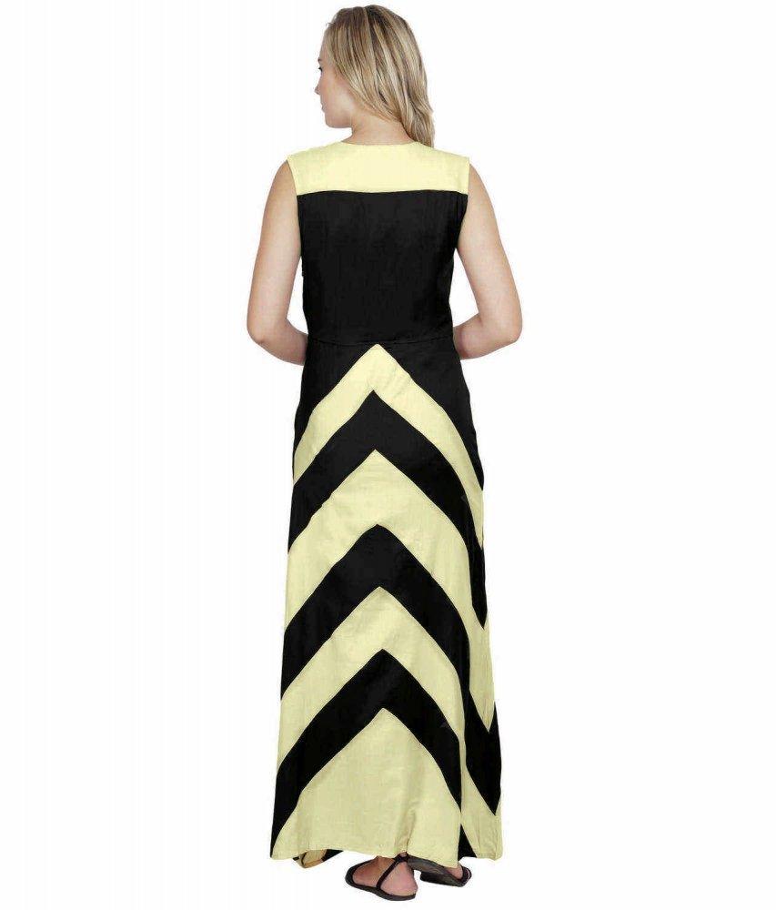 Color Block Empire Slim Fit Maxi Dress in Cream:Black