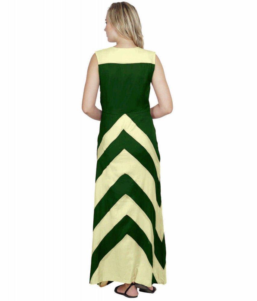 Color Block Empire Slim Fit Maxi Dress in Cream:Bottle Green