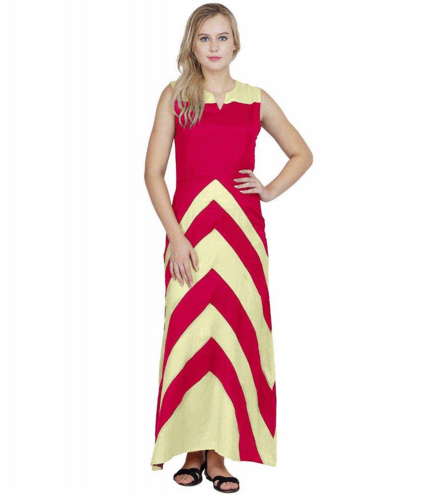 Color Block Empire Slim Fit Maxi Dress in Cream:Fuchsia