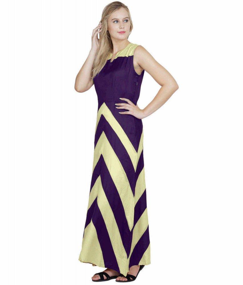 Color Block Empire Slim Fit Maxi Dress in Cream:Purple
