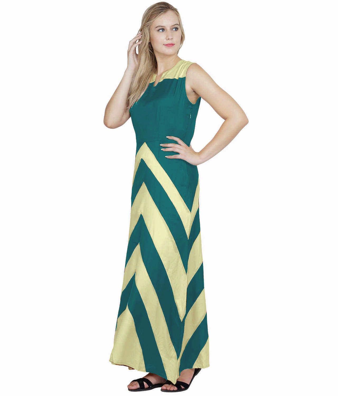 Color Block Empire Slim Fit Maxi Dress in Cream:Rama Green