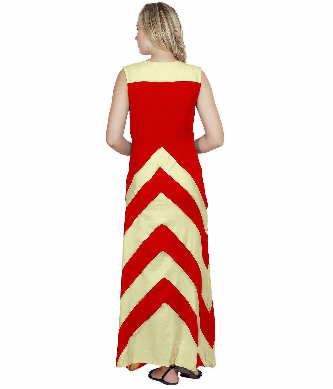 Color Block Empire Slim Fit Maxi Dress in Cream:Red