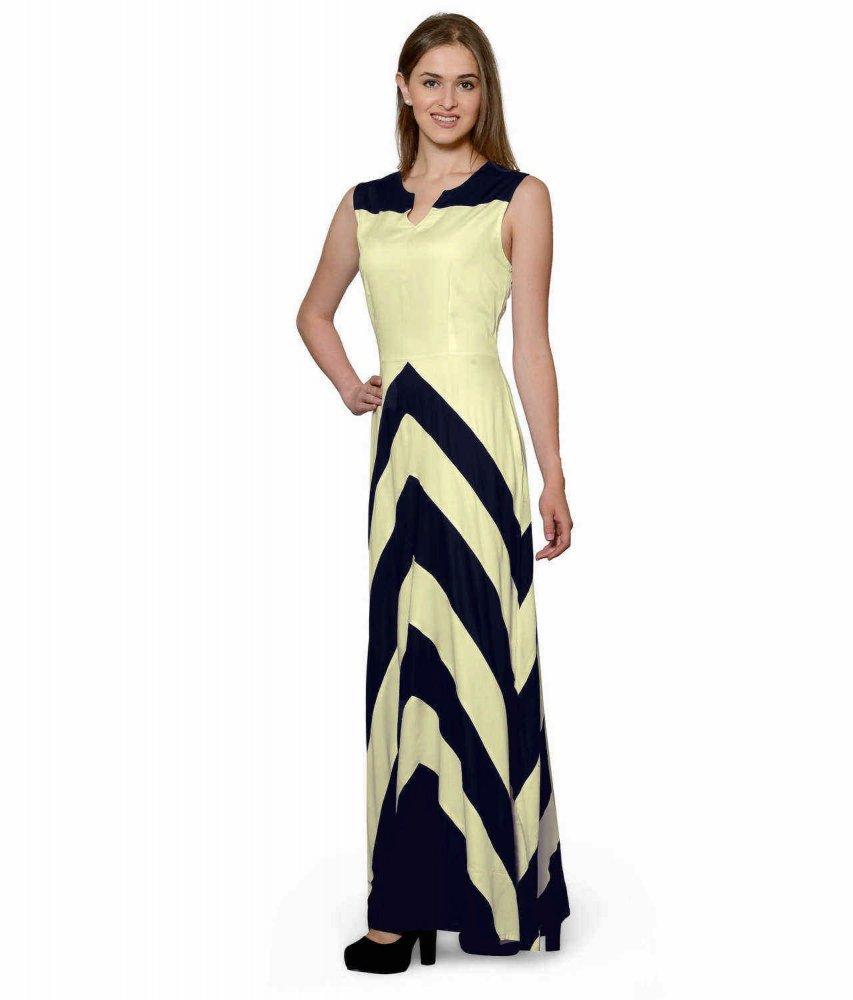 Color Block Empire Slim Fit Maxi Dress in Dark Blue:Cream