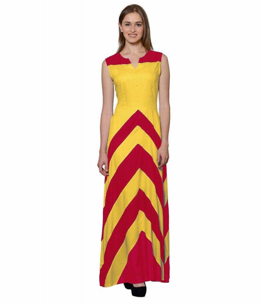 Color Block Empire Slim Fit Maxi Dress in Fuchsia:Mustard
